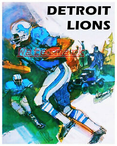 NFL Vintage 1960's Detroit Lions ART Poster Color REPRINT 8 X 10 Photo Picture