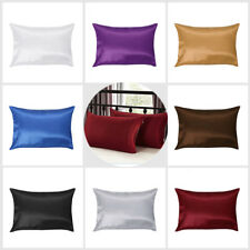 1/2Pcs Silk Pillow Case Cushion Cover Pillowcase Standard Queen Size Solid Color