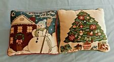 "Pair of Vintage Decorative Christmas Pillows 12"" Square TREE & SNOWMAN"