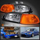 For 92-95 Honda Civic 2dr3dr Eg Eh Ej Black Headlightscorner Lights 4pc 93 94