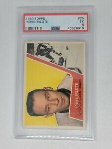 1963 Topps #25 Pierre Pilote Vintage Chicago Black Hawks NHL Hockey PSA 5 EX
