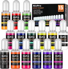 Nicpro 15 Colors Epoxy Resin Pigment, Liquid Epoxy Dye Translucent Resin Tint -