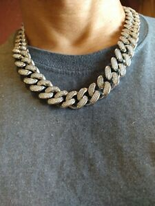 Stainless Steel Big Miami Cuban Link Iced Out Chain 20mm 22""