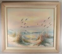 Oil on Canvas Hand Painted Beach Ocean Signed Evans Whitewashed Wood Frame
