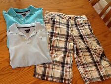 Guess Plaid cargo Shorts  Size 16And 2 Tommy Hillfiger Polos S 14/16 EUC!