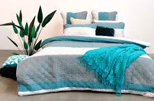 100% Quilted Cotton QUEEN Quilt Cover Set Bedspread Sea Green EDEN Doona Duvet