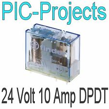 24V Relay coil 10 Amp contacts Double pole change over 10A volt Power PCB mount
