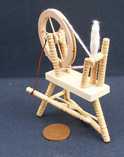 1:12 Scale Natural Finish Wooden Spinning Wheel Tumdee Dolls House Miniature