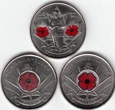 2004,2008,2010 Canada Remembrance Day Poppy 25cents UNC From Mint Rolls