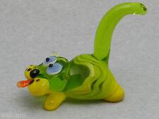 Glass Blown Art Figurine Animal Cat green Murano Style # 6149