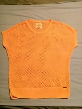 Superdry Orange Neon Long Mesh Short Sleeve Jumper Size S