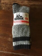 New Mens Kodiak Thermal Cotton Socks 2 pair fits shoes size 7-12 Gray Black (RX