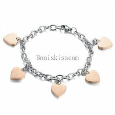 Rose Gold Tone Stainless Steel Love Heart Charm Chain Bracelet Women's Gift