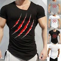 Men Slim Fit Casual Summer Short Sleeve O-Neck Tops Blouse T-Shirts Muscle Tee