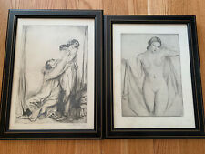 Albert Sterner The Unmasking And Nude Pencil Etching Excellent Condition Estate