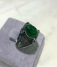 Turkish Handmade Jewelry 925 Sterling Silver Emerald Men's Ring Size 7,8,9,10