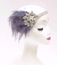 Dark Grey Silver Feather Headpiece 1920s Headband Flapper Great Gatsby Vtg 2768