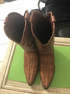 Cowboy Boots Brown Size 9.5 Only Wore Once.   Starting At 1/2 Price From New
