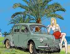 """""""Quatre Chevaux pour une Gazelle"""" dessin numérique RENAULT 4CV Style BD JICEHER"""