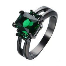 Women'S Green Crystal Engagement Ring 10Kt Black Gold Jewelry Size 6