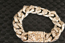 Cool Chinese tibet silver hand cast lovely skull statue bracelet collectable