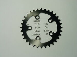 NOS Sugino Chain ring sprocket 32T BCD 74mm black color cr22us