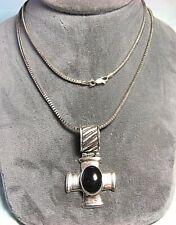 925 Sterling Silver Cross Pendant w Onyx on MILOR 925 Chain 33.4 grams