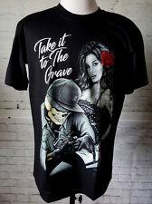 Take it to the Grave Skull Death Tattoo Artist Sexy Lady Rose Black Tshirt Sz L