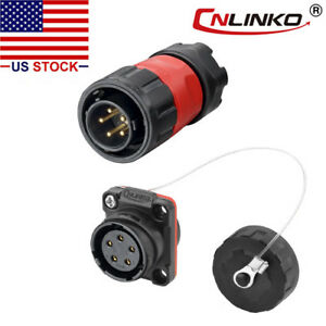 CNLINKO 5 Pin Power Signal Connector Male Plug & Female Socket Waterproof IP67