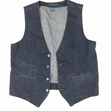 Mens Denim Vest Medium M Blue Perry Ellis Button Down Cotton Jean with Pockets