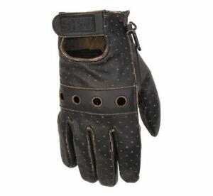 Black Brand Men's Vintage Brown Knuckle Leather Motorcycle Gloves