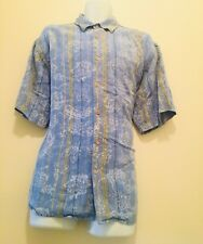 Tommy Bahama Baby Blue Camp Hawaiian Surf Floral Shirt Hibiscus Size Large
