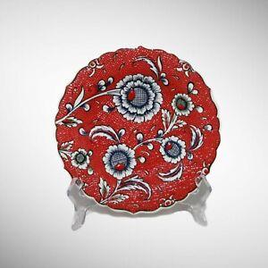 "7"" Turkish Handmade Handpainted Red Floral Ceramic Salad Plate for Serving"