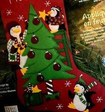 """18""""  """"Peppermint Penguins"""" Christmas Stocking Kit 8162 Dimensions Felt Works"""