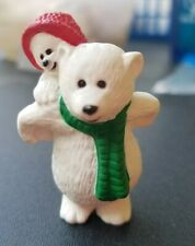 Vintage 1990 Hallmark Merry Miniatures Papa Daddy Polar Bear With Baby Kid Child