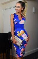 Royal Blue Floral Bodycon Evening Illusion Party Midi Occasion Wiggle Dress £65