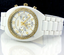 DKNY LADIES WATCH CHRONOGRAPH YELLOW GOLD STEEL WHITE ACRYLIC NY4784