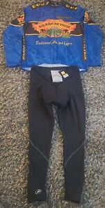 Pearl Izumi Sierra Nevada BLUE Cycling Jersey Mens L W/Performance padded tights