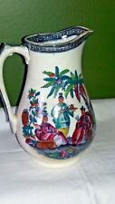 More details for antique english transferware pitcher pekin chinese pattern 1850's hancock 19th