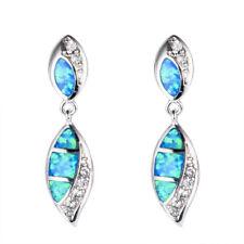 Beautiful Silver Filled Blue Fire imitation Opal Ear Stud Earrings Wedding Gift