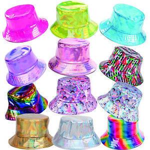Bucket Hat Metallic Holographic Shiny Festival Rave 90s Costume Adult Unicorn