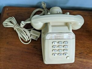 Vintage French S63 Phone - Cream Electronic Push Button Desk Telephone Office