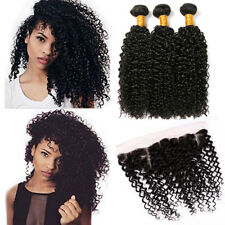 Brazilian 100% Human Hair Weave Bundles Curly With 13*4 Lace Frontal Closure