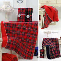 Large Tartan Sherpa Flannel Fleece Throw over Bed Blanket Check Red Winter Warm