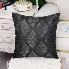 2pcs Grey Cushion Covers Pillows Shell Damask Shining Dull Contrast Sofa 45x45cm