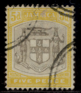 JAMAICA EDVII SG36, 5d grey and yellow, FINE USED. Cat £23.