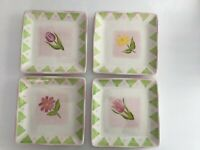 "VTG FTD Porcelain 7.5"" Square Dessert Plates Set of 4 Different Flowers"