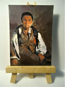 Young black boy Liverpool ACEO Original PAINTING by Ray Dicken a William Windus