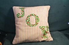 "Red and White ""Joy"" Throw Pillow Cover"