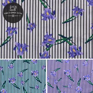 Printed Cotton Poplin, Pinstripe Tulips, 3 Col, White, Blue, Lilac, 150cm Wide